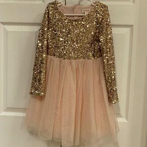 ⭐️Cat & Jack gold sequin & tulle skirt dress 6/6x